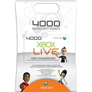 41vL9at%2B7PL. AA300  4,000 Xbox 360 Live Points Card   $42 With Free S&H