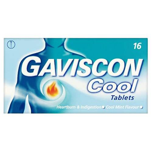 Gaviscon Cool Heartburn & Indigestion Relief Tablets - Cool Mint - 16 Tablets