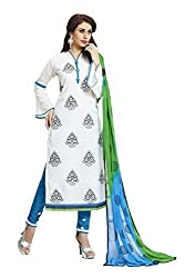 Shaily Retails Women's White Cotton Jacquard Embroidered Dress Material