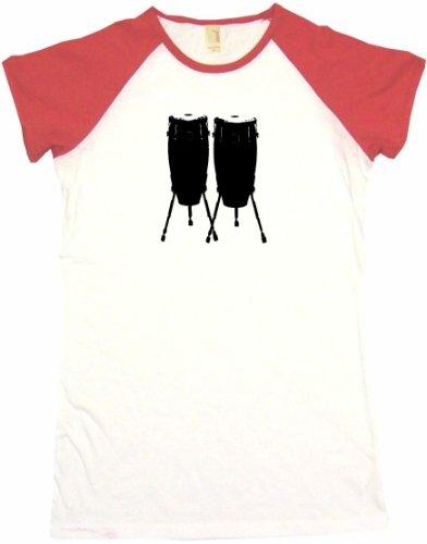 Bongo Drums Logo Women'S Tee Shirt Medium-White/Red Babydoll