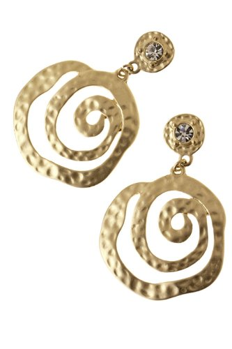 Karmas Canvas Hammered Spiral Earrings (Matted Gold)