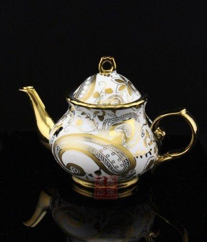 ufengkeWhite And Gold Flower 13 European Retro Titanium Ceramic Tea Set Tea Service For Wedding 3