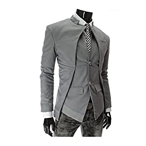 NOVA FASHION Men's Casual Asymmetric Design Blazer Slim Fit Single-breasted Suit