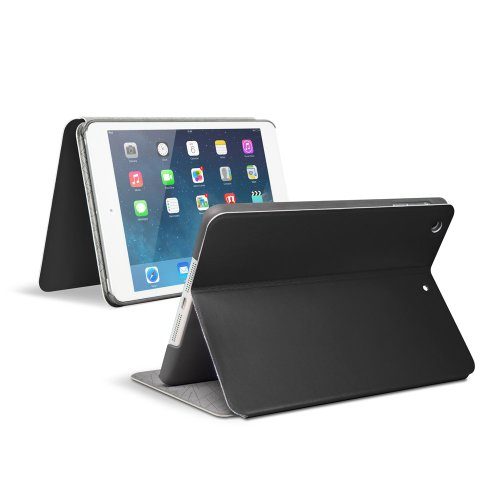 [New Release] Anker® Color Palette Series Ultra Slim Synthetic leather Case for Apple New iPad Mini / iPad Mini 2 / iPad Mini with Retina Display - Multi Angle Stand - Smart Cover - Auto Sleep / Wake Function (Black)