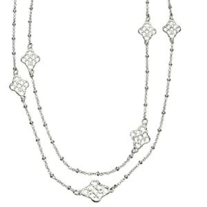 Sterling Silver Floral Link Station Long Necklace Italy, 46""
