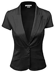 Doublju Women Short Sleeve Cotton Span Satin Fabric Blazer