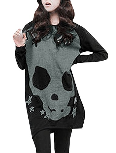 Allegra K Women Long Sleeve Skull Star Pattern Loose Tunic Blouse Black XL (Allegra Clothing For Women compare prices)