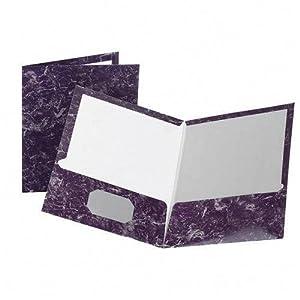 Marble High-Gloss Laminated Paper Portfolio, Purple