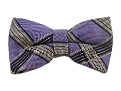Wool Lavender Barrister Plaid Self-Tie Bow Tie