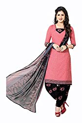 Varsha Women's Chiffon Unstitched Dress Material (Black and Pink)