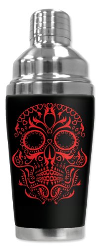 Mugzie® Brand 16-Ounce Cocktail Shaker With Insulated Wetsuit Cover - Red Sugar Skull