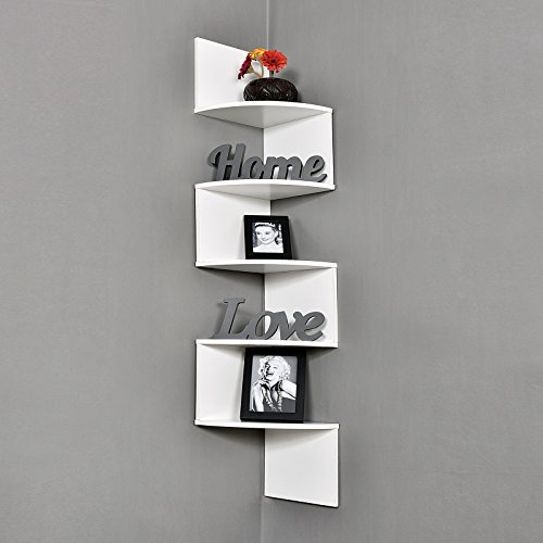WELLAND Large 10 x 10 Inches 5 Tiers Corner Wall Shelf, White
