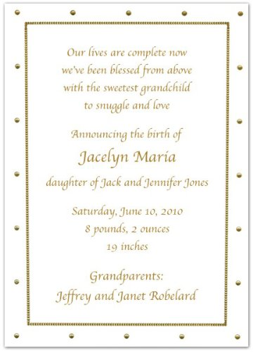Gold Foil Dotted Border Birth Announcements - Set Of 20 front-1035162