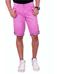 Origin Smart Pink Casual Fix Waist Cotton Shorts For Men | 6193_Pink