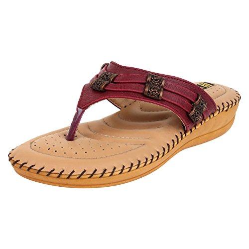 1 Walk Women's Maroon Flat Sandal (6)