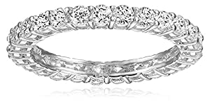 Platinum Plated Sterling Silver Round Cubic Zirconia All-Around Band Ring, Size 6