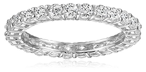 Platinum Plated Sterling Silver Round Cubic Zirconia All-Around Band Ring, Size 6 (All Rings compare prices)