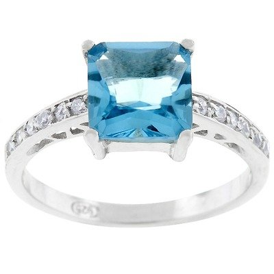 Cubic Zirconia Engagement Ring Size: 5, Color: Sterling Silver Blue Princess-Cut