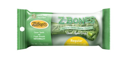 Zukes Z-Bone Regular Edible Dental Chews, Clean Apple Crisp Flavor - 25 - 1.5 ounce Bones temptations creamy dairy flavor treats for cats 16 ounce