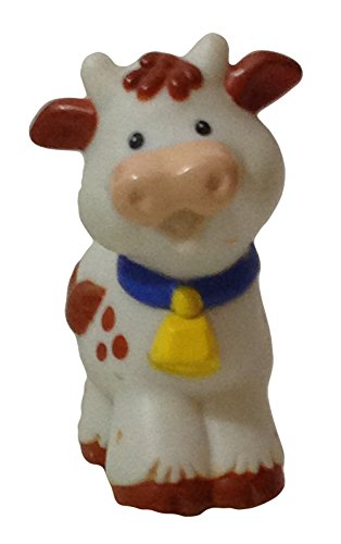 Little People Dairy Cow 2002 (Bell on Blue Collar) - Replacement Figure - Classic Fisher Price Collectible Figures - Zoo Circus Ark Pet Castle