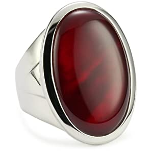 ELLE Jewelry Dyed Red MotherofPearl Large Sterling Silver Ring, Size 6