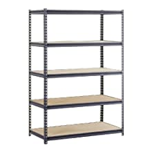 "Edsal UR2448 Industrial Gray Heavy Duty Steel Boltless Shelving Storage Rack, 1400 Capacity, 48"" Width x 72"" Height x 24"" Depth"