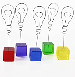 Displays2go Set of 45, Light Bulb Shaped Memo Clips in 5 Different Colored Cube Bases, for Tabletop Use (5CUBEBULB)