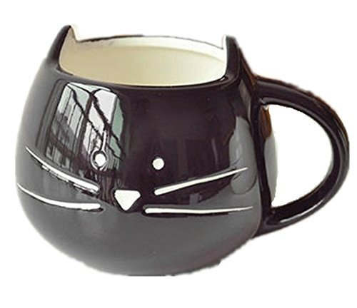 OliaDesign Cat Coffee Milk Ceramic Mug Cup, Black (Renaissance Coffee Cups compare prices)