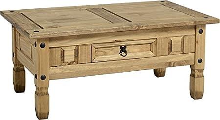 Mercer's Furniture-Tavolino da caffè con 1 cassetto, in legno di pino massello, finitura effetto cerato e invecchiato