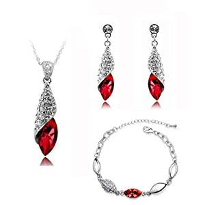 Bridal Jewellery Set Red Crystal Teardrop Earrings Necklace & Bracelet S273