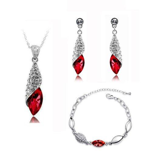 Bridal Jewellery Set Red Crystal Teardrop Earrings Necklace & Bracelet S273