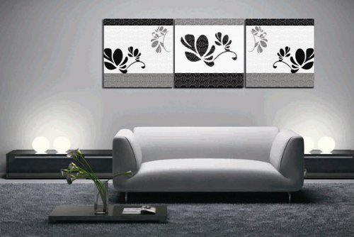 Huge 3 Panels Black And White Floral Wall Hanging Decor Living Room Art Picture Paint Oil Painting On Canvas Painting front-25195