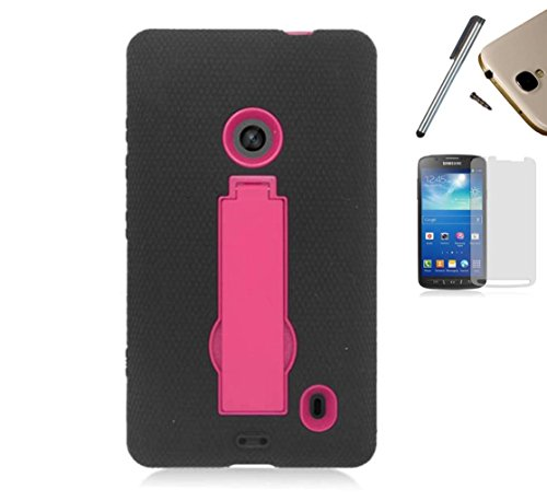 For Nokia Lumia 520 (At&T T-Mobile Metro Pcs Cricket) Symbiosis Advanced Armor Impact Hybrid Soft Silicone Cover Hard Snap On Plastic Case With Kick Stand + [World Acc] Tm Brand Lcd Screen Protector + Silver Stylus Pen + Black Dust Cap Free Gift (P-Stand
