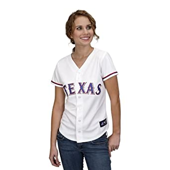 MLB Texas Rangers Ian Kinsler White Home Replica Baseball Ladies Jersey, White by Majestic