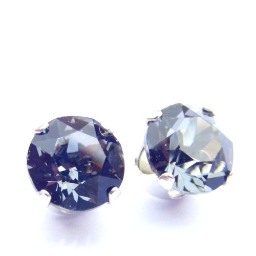 Men's 925 Sterling Silver Stud Earrings set with Black Diamond (charcoal grey) Swarovski Crystal Stones. Gift Box. Made in England. Beautiful jewellery for very special people.