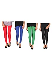 ALLY Of Focker Rounded Yoke Cotton 150% Stretchable Legging With Waist Tying Band Combo - Red, Blue, Black & Green