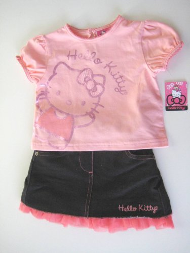 Hello Kitty Baby-girls Infant Short Sleeve Dress With Tiered Mesh Skirt; Size 18M/24M (24 MONTHS)