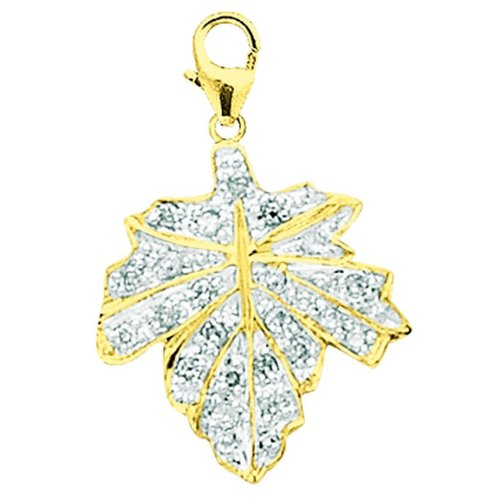 14K Yellow Gold Diamond Maple Leaf Charm