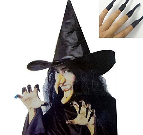 5 in 1 Witch Set for Costume Ball Halloween Party (Nose, Hat, Chin ,Teeth, Nails)