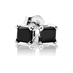 Princess Cut Black Diamond Stud Earrings 1/4ctw