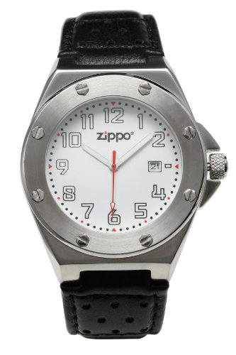 Zippo Casual Watch With White Dial/Black Leather Strap And Brushed Chrome Buckle front-35966