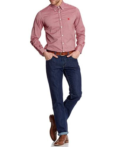 Polo Club Camisa Hombre Oxford Rojo