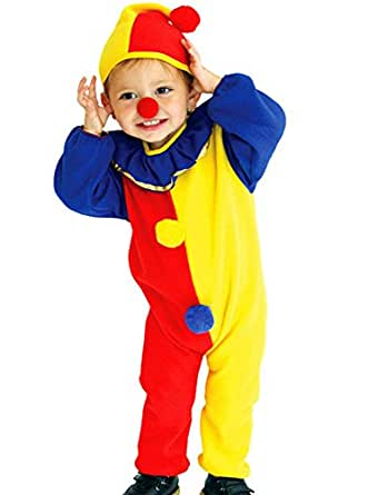 Xi Chidren's 3 Pcs Cute Clown Cosplay Halloween Costume with Bodysuits Hat Nose.