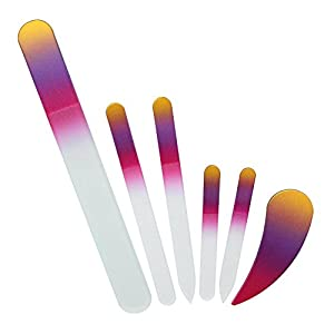 6 Piece Crystal Glass File Kit, includes Large Pedicure Nail File, 2 Medium & 2 Small Czech Glass Nail Files, Plus NEW manicure Ergofile nail care tool for ultimate nail care, by Bona Fide Beauty