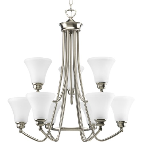 B003BNE36U Progress Lighting P4488-09 9-Light Janos Chandelier, Brushed Nickel