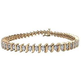 Choice of 10k White or Yellow Gold Diamond S-Link Tennis Bracelet (3 cttw, I-J Color, I1-I2 Clarity), 7.5