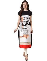 Vatsla Enterprise Women's Heavy American Crepe Digital Floral Print Short Sleeve Causal Kurti (VHNSMKS008 WHITECOLOUR_SUMMER...