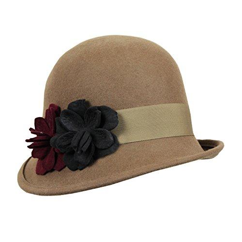 Vintage Wool Cloche Flapper Hat w/ Felt Flowers & Ribbon ...