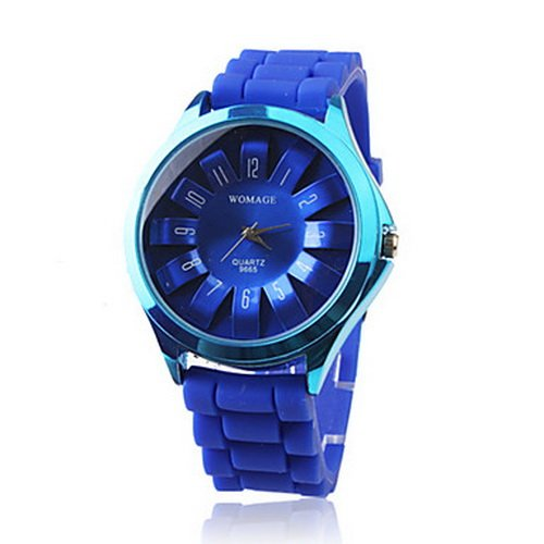 Fashionable Quartz Wrist Watch with Blue Silicone Band