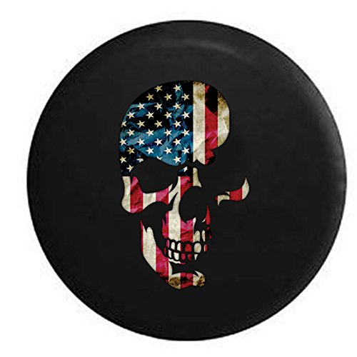 American Flag Sull Military USMC Patriot Infidel Spare Tire Cover Black 35 in (Jeep Wrangler Safari Tire Cover compare prices)